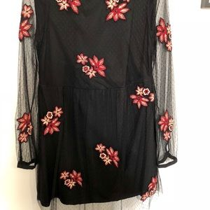 Zara sheer black lace and floral dress
